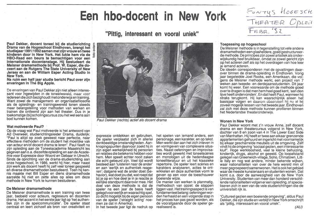 Een HBO-docent in New York (1992)